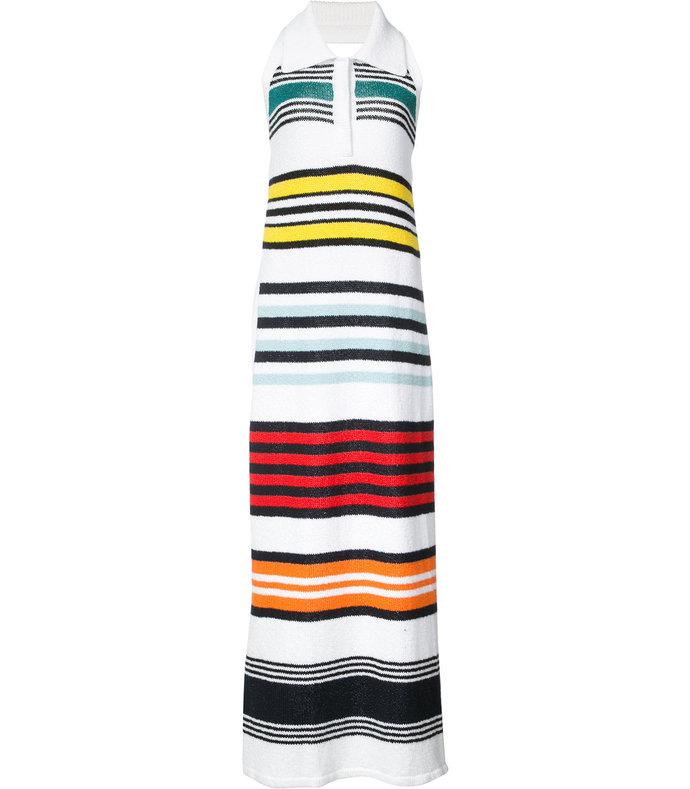 multicolor striped halter dress