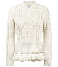 cream pom-pom sweater