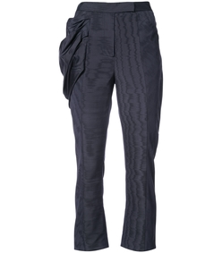 navy draped detail straight trousers
