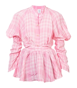 pink crinkled plaid puff sleeve blouse