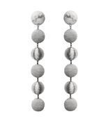silver six drop skinny earrings