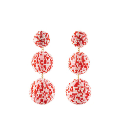 pink & white 'sara' earrings