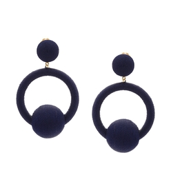 navy hoop la la earrings