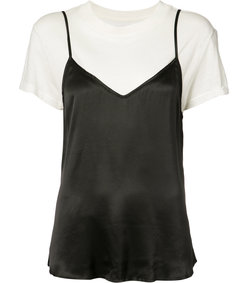 black double-layered t-shirt camisole