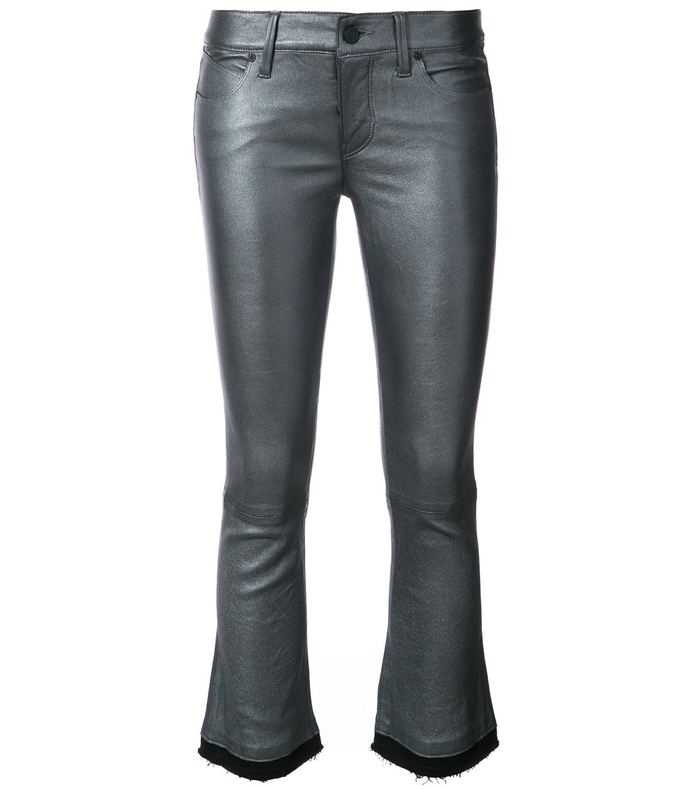 grey cropped raw edge trouser