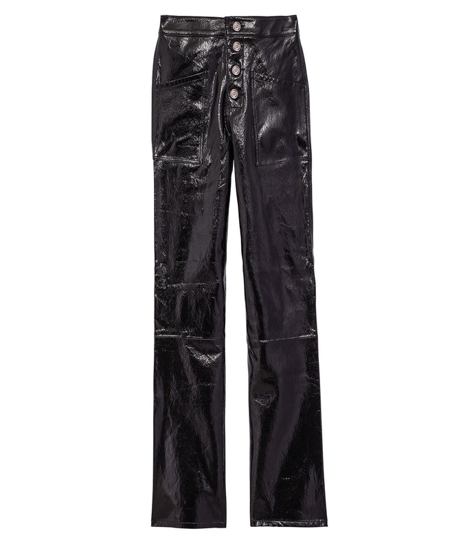 black vinyl leather theodora pant