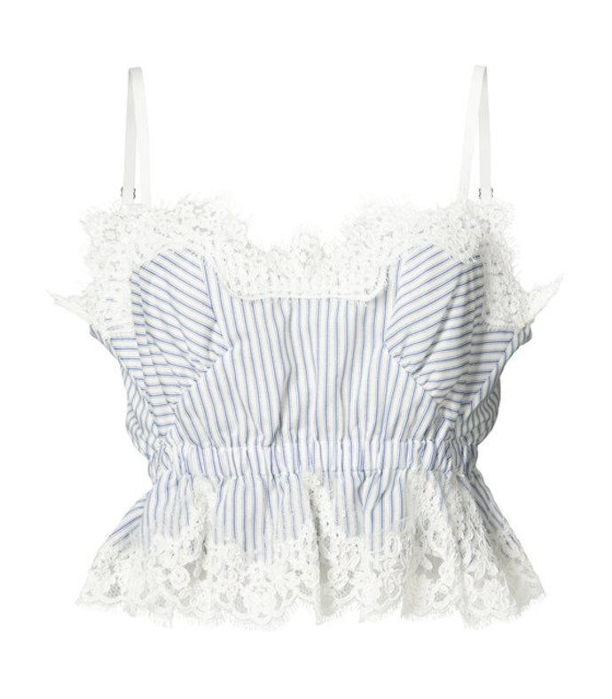 striped lace silk crop top