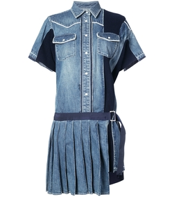 blue pleated denim shirt dress