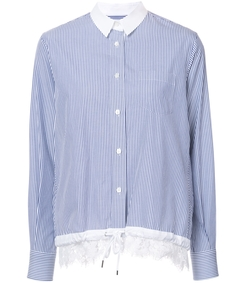 pale blue lace insert drawstring shirt