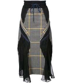 navy multicolor houndstooth panelled skirt