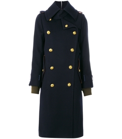 navy/gold shell-trimmed melton wool coat