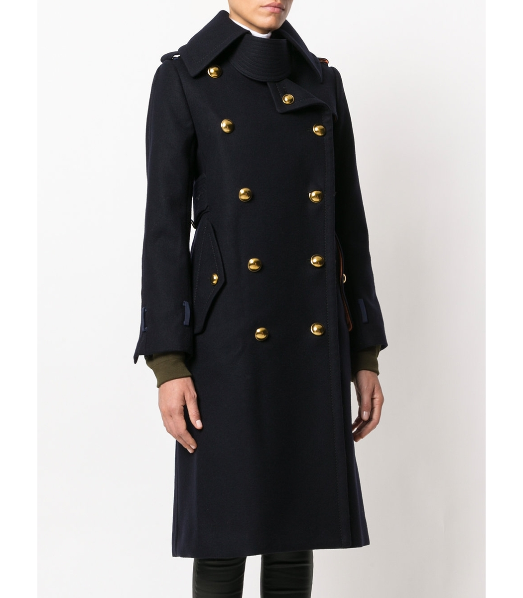 Sacai Shell Trimmed Melton Wool Coat - Navy/Gold Nylon Coat