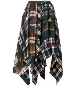 multicolor plaid pleated asymmetrical skirt