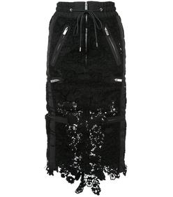 black layered drawstring lace skirt