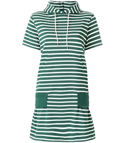 green white hooded striped dress