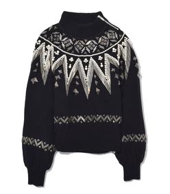 black beaded knit pullover
