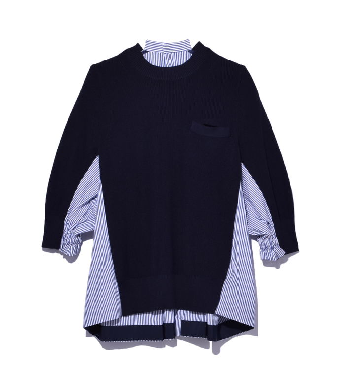 navy stripe cotton knit pullover
