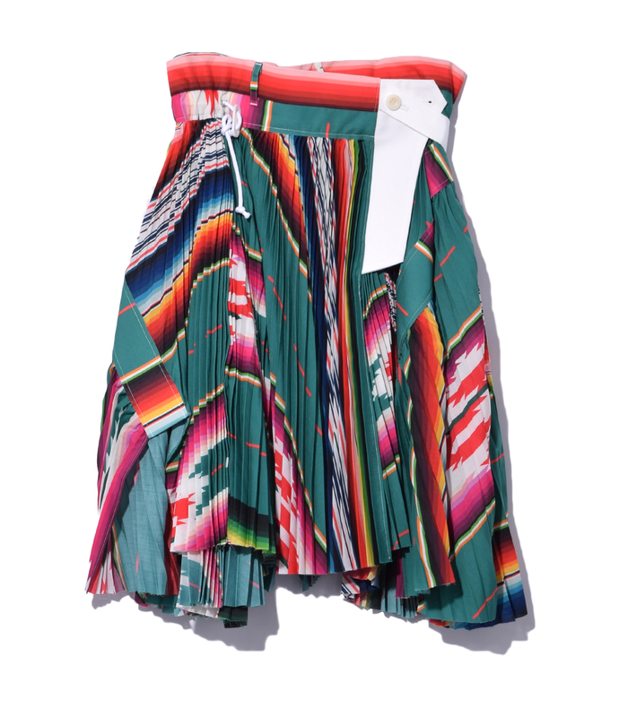 green multi mexican stripe skirt