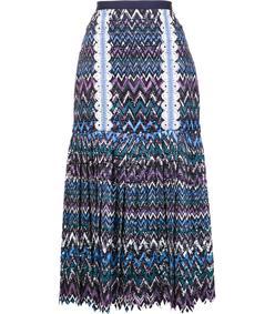multicolor pleated midi skirt