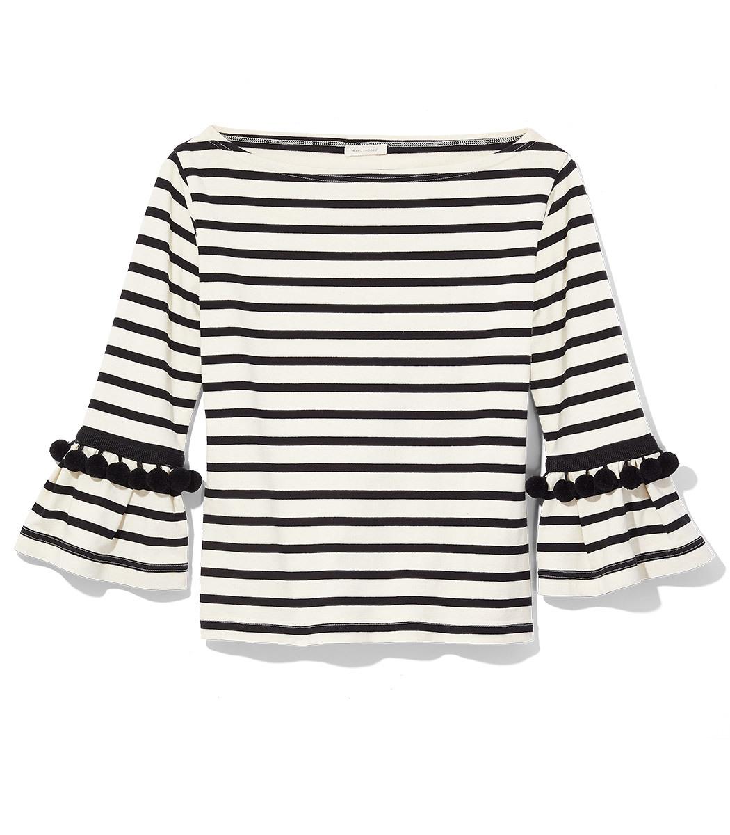 Pompom-Embellished Striped Cotton-Jersey Top in Black