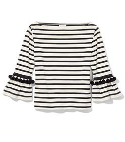 black & white stripe pom top