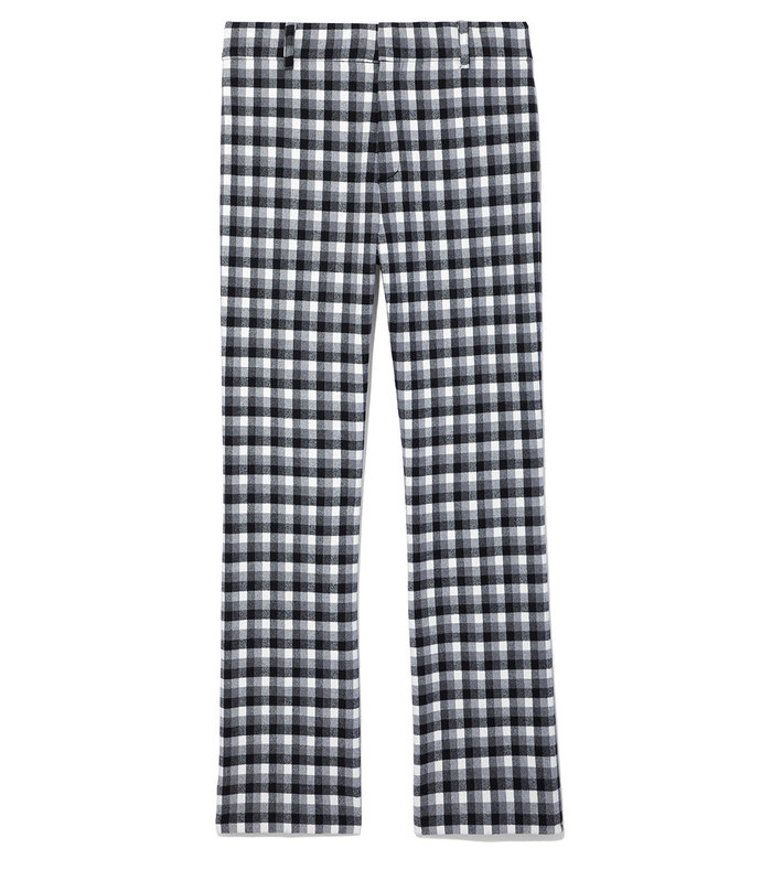 grey gingham cropped flare trouser