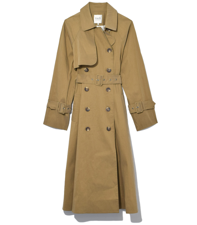 taupe belted circle trench coat