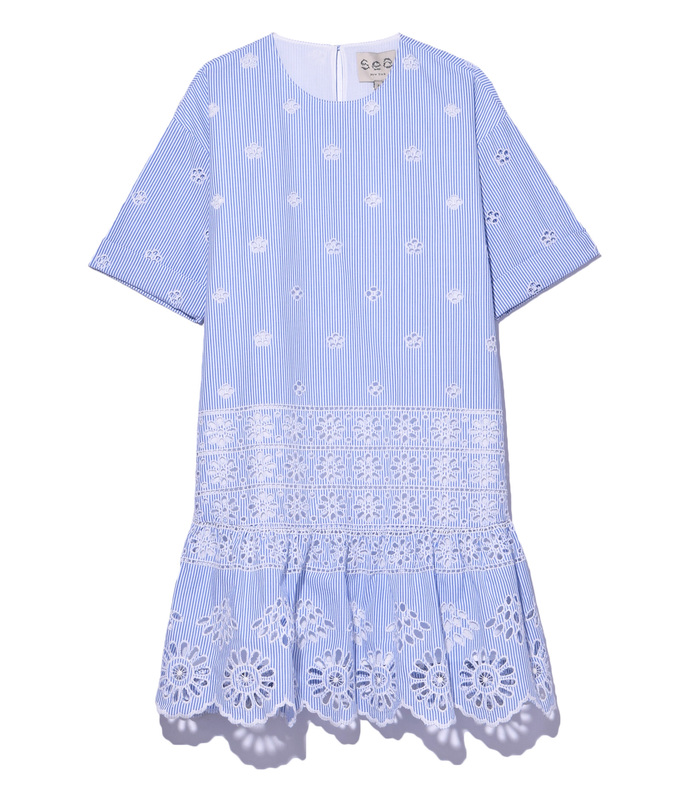 blue 'exploded' eyelet dress