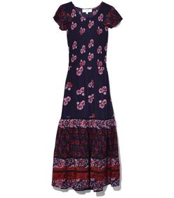 red multi flutter sleeve smocked dress