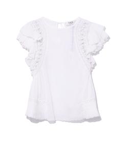 white khloe crochet pom pom top