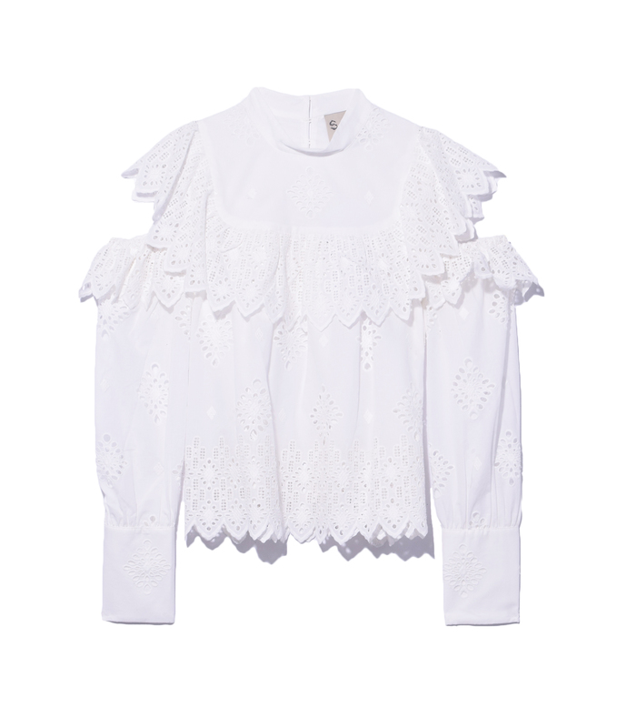 white open shoulder ruffle blouse