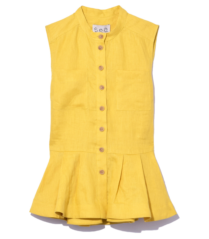 yellow safari peplum top
