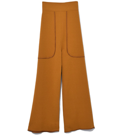 gold cropped wide leg trouser
