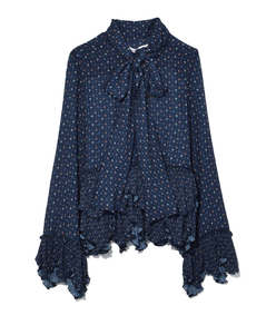 dark navy long sleeve scarf top