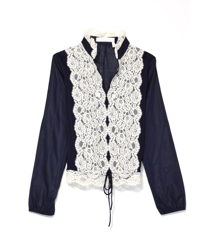 navy mesh embroidered lace front blouse