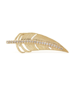 gold diamond feather earring