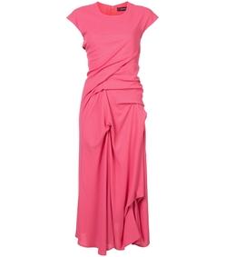 red crepe twist dress