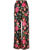 roses print silk pajama pant