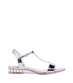 silver 'casati' pearl t-bar sandal
