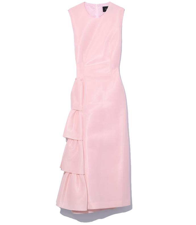 pink asymmetric frill straight dress