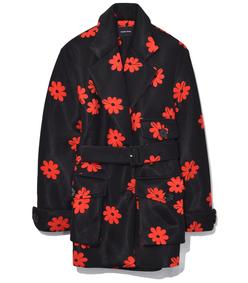 black/red belted three pocket jacket