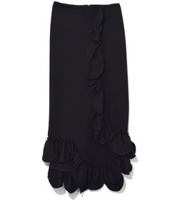 black scallop frill slim skirt