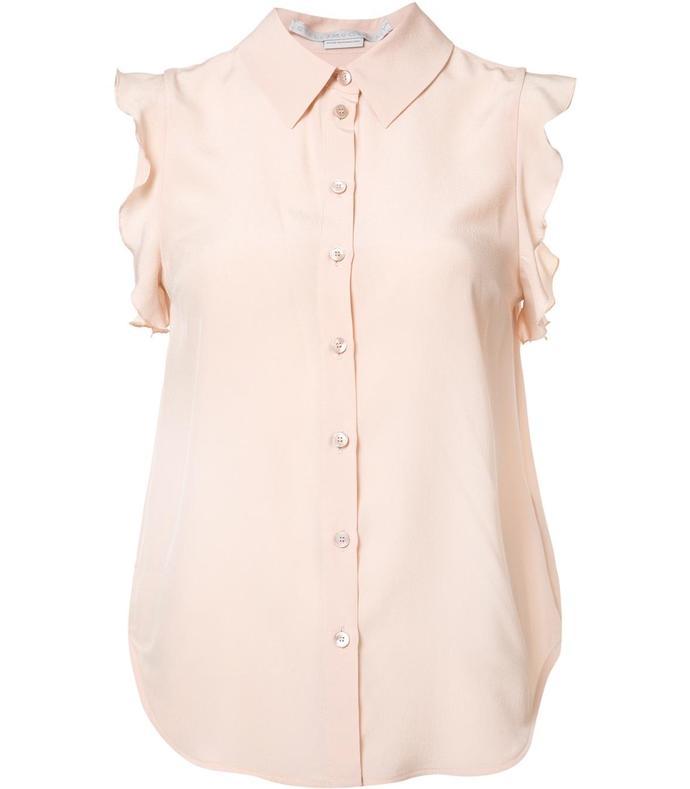 pink sleeveless button top