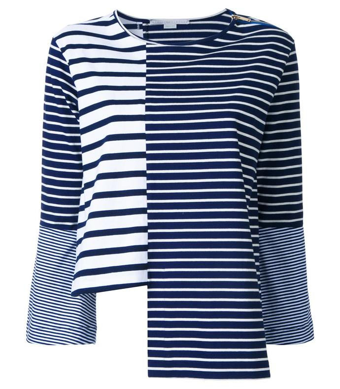 blue & white asymmetric striped top