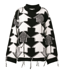 black & white check volume sweater