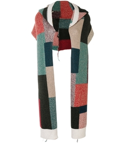 multicolor printed hooded scarf