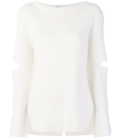 white cut out ribbed sweater