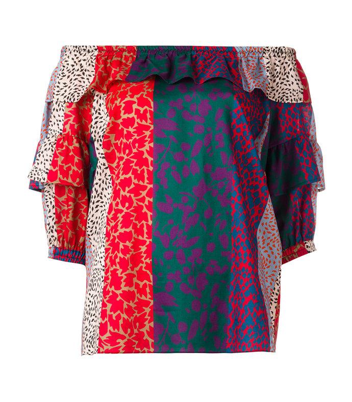 multicolor striped off shoulder blouse