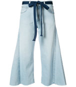 light blue wide leg cropped jean