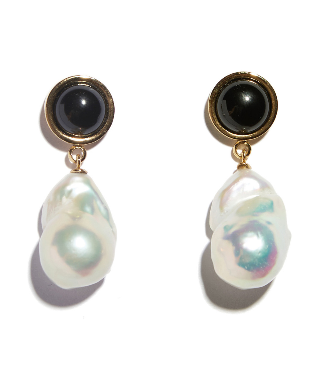 Lizzie Fortunato White Black Tuxedo Pearl Drop Earrings